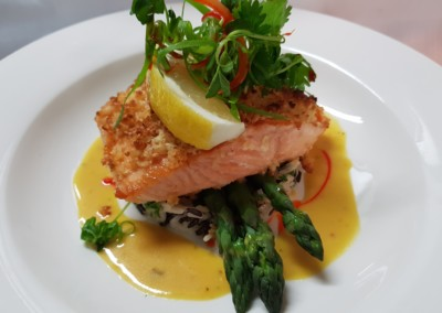 Macadamia Crusted Atlantic Salmon